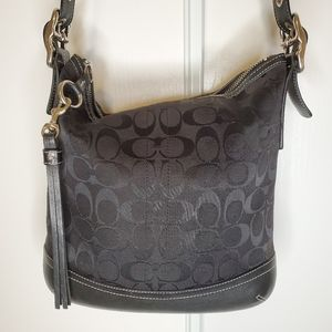 Coach jacquard with leather trim bag #9362
